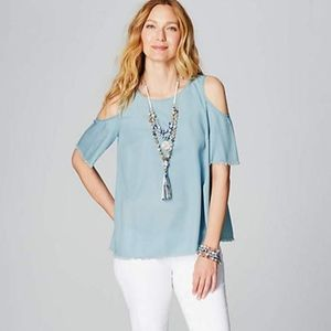 J.Jill Gorgeous Fringed Open-Shoulder Top NWT